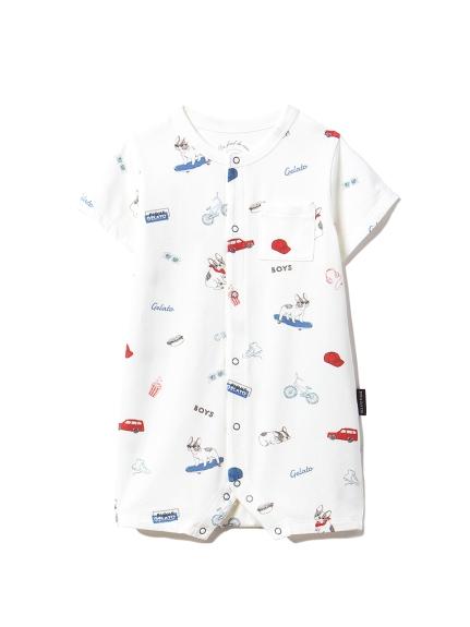 【BABY】ボーイズモチーフ baby ロンパース(OWHT-70)