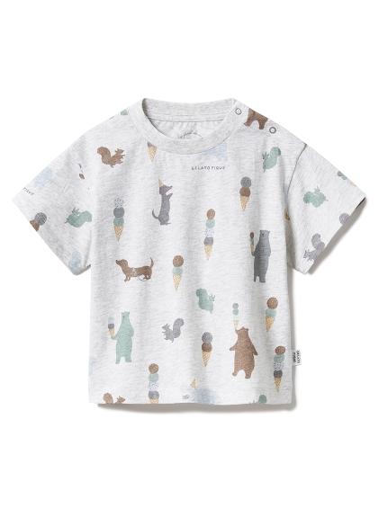 【BABY】アイスクリームアニマル baby Tシャツ(GRY-70)