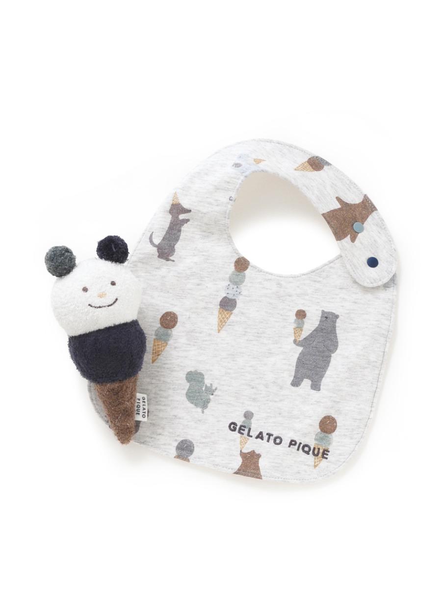 【ラッピング】babyアイスクリームスタイ&ガラガラSET