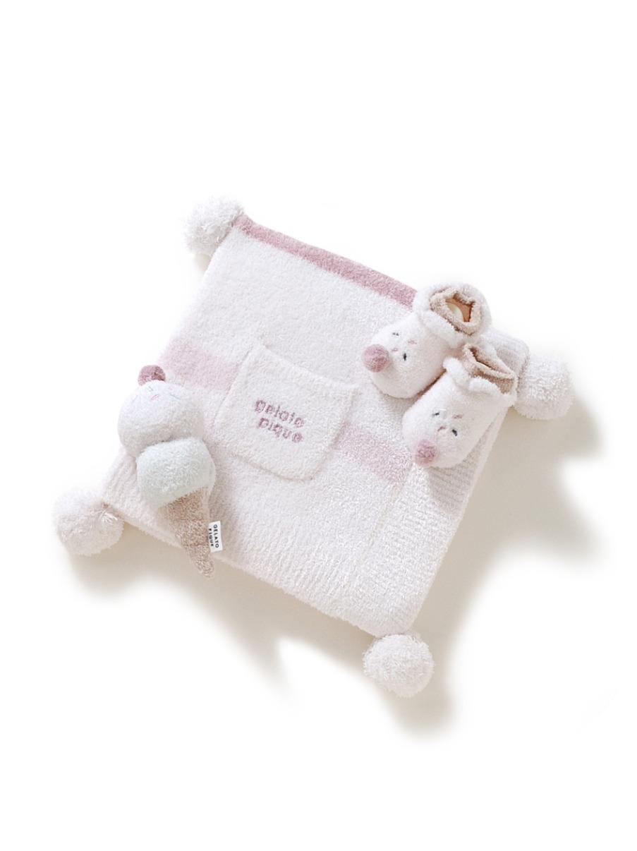 【ラッピング】babyスムーズィーブランケット&babyソックス&ガラガラSET(PNK-F)
