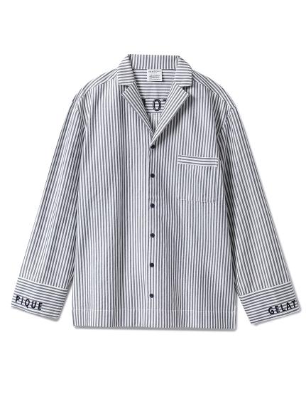 【GELATO PIQUE HOMME】ストライプロゴシャツ(NVY-M)