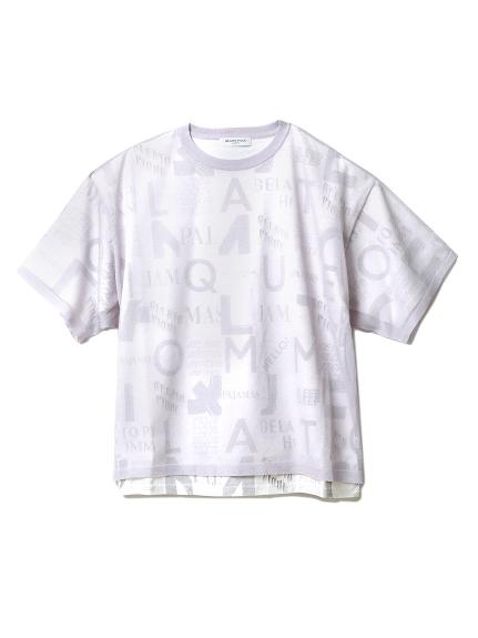 【GELATOPIQUEHOMME】ロゴドッキングTシャツ(GRY-M)