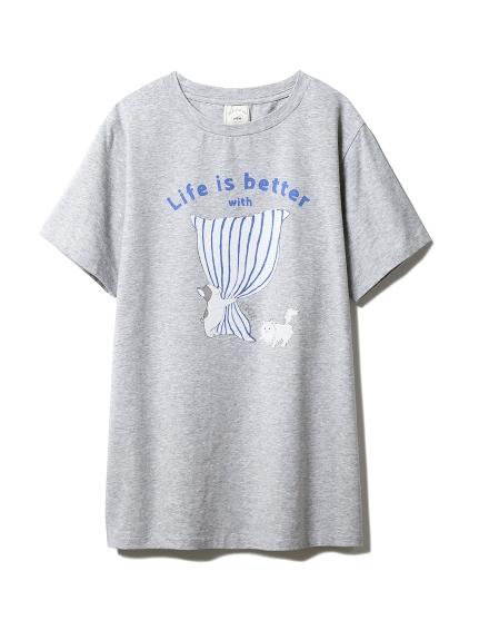 アニマルピローワンポイントTシャツ(GRY-F)