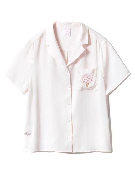 【SAKURA FAIR】チェリーブロッサムエンブロイダリーサテンシャツ(LPNK-F)