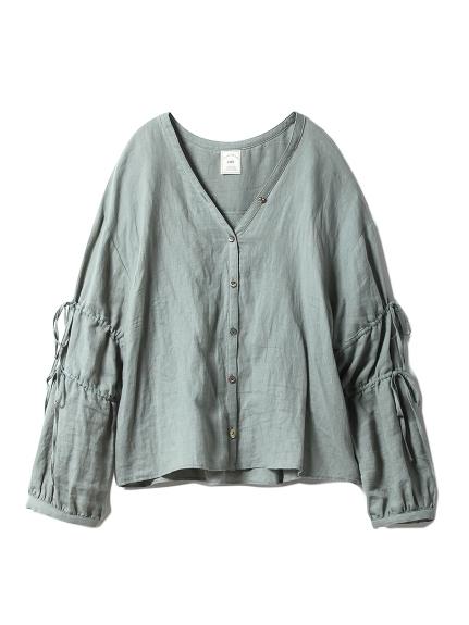 綿麻ストライプシャツ