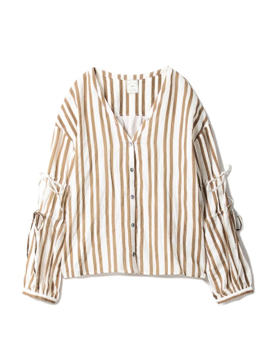 綿麻ストライプシャツ(BRW-F)