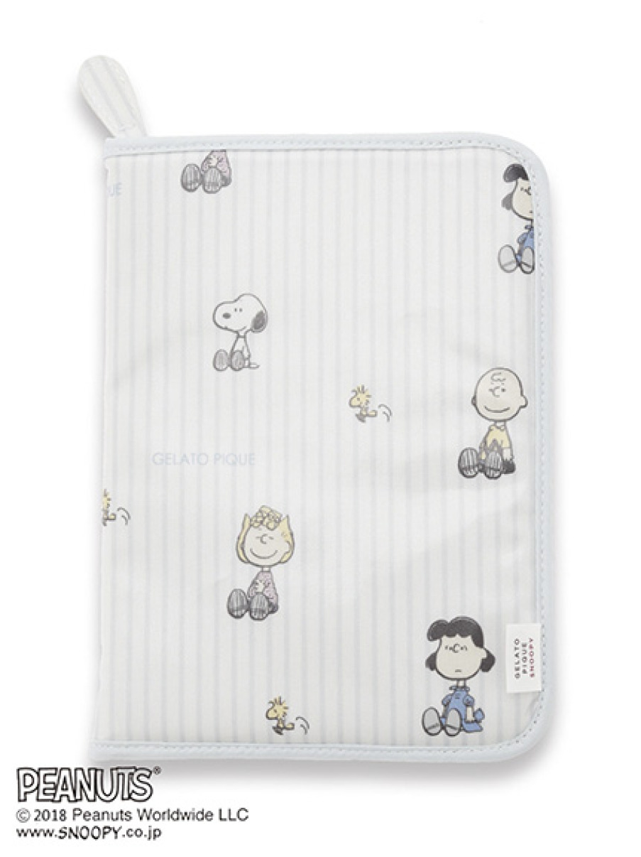 【PEANUTS】ストライプ母子手帳ケース(BLU-F)