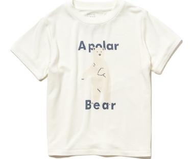 シロクマワンポイント冷感 kids Tシャツ ¥3,200+tax