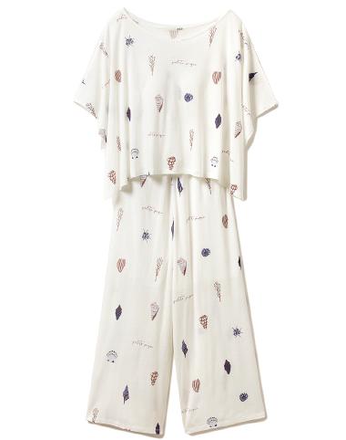 シェルモチーフ Tシャツ& オールインワンset ¥7,600+tax