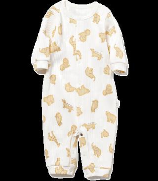 クッキーアニマルモチーフ新生児2wayオール